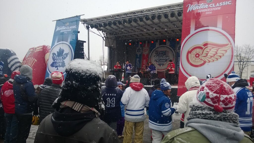 A band from Grand Rapids playing at the 2014 Winter Classic