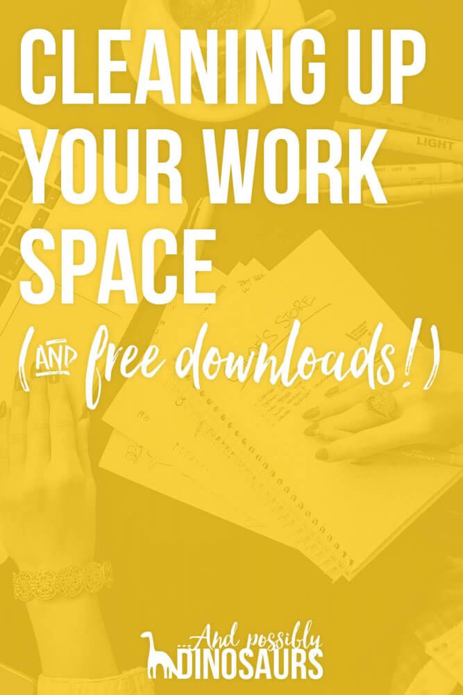 Let's face it, sometimes things get messy. Here are some easy ways to clean up your work space and desktop. Plus, I've got free simple desktop backgrounds for you! Click through to check out the post and get your free downloads!
